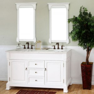 "Bellaterra Home 205060-D-WH Olivia 60"" Traditional Double Sink Bathroom Vanity"