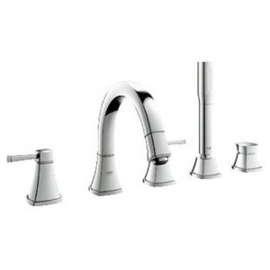 Grohe 19919 Grandera Deck Mounted Roman Tub Faucet Trim with Personal Hand Shower, Metal Lever Handles and Built-In Diverter