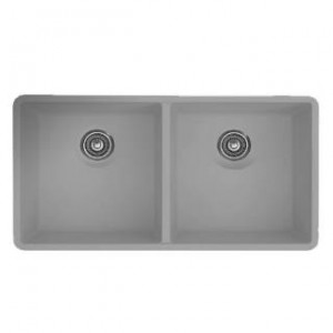 Blanco 516319 Precis Equal Double Bowl Silgranit Undermount Kitchen Sink in Metallic Gray