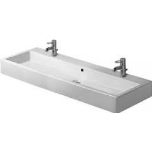 Duravit 045412 Vero 47-1/4 x 18-1/2 Inch Wide Lavatory Washbasin with WonderGliss and Two Faucet Holes