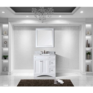Virtu USA ES-32036-WMSQ-AWH Elise 36-Inch Single Bathroom Vanity Set, White