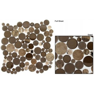 "Symphony Bubble Full Sheets srs. SBS1516 Taupe Fizzle Mosaic 12"" X 12"" 5 pcs."