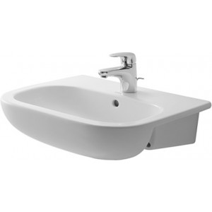 Duravit 033955 D-Code 21-5/8 x 17-3/8 Inch Semi-Recessed Washbasin with Overflow