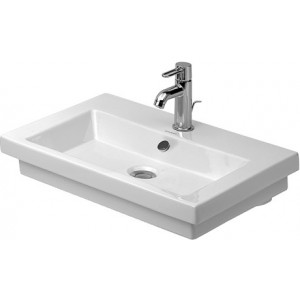 Duravit 049160 2nd Floor 23-5/8 x 16-7/8 Inch Washbasin with Overflow, Tap Platform and WonderGliss