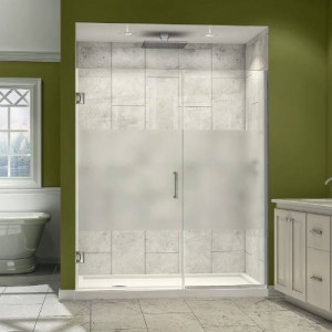 "Dreamline SHDR-245607210-HFR Unidoor Plus 56"" to 56-1/2""W x 72""H Hinged Shower Door with Half Frosted Glass Door"