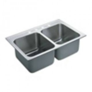 "Moen 22121 Commercial 37-8/9""L Stainless Steel 18 Gauge Double Bowl Sink"