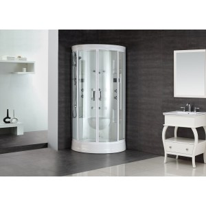 "Aston Global ZA218 88"" Steam Shower With 12 Body Jets in White"