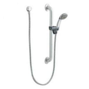 "Moen 52224GBP25 Commercial Single Function 2.5 GPM Hand Shower with Slide Bar/Grab Bar and 59"" Hose in Chrome/Stainless"