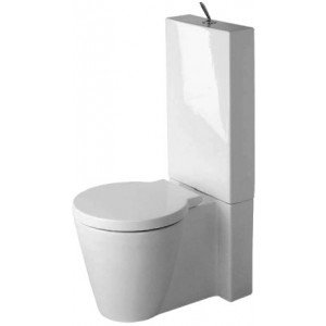 Duravit 02330900921 Starck 1 16-3/8 x 25-1/4 Inch Toilet Close-Coupled, Washdown Model with WonderGliss, Bowl Only