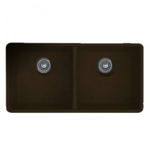 Blanco 516323 Precis Equal Double Bowl Silgranit Undermount Kitchen Sink in Cafe Brown