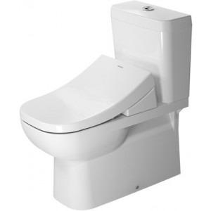 Duravit 21420900922 D-Code 14-1/8 x 27-3/8 Inch Toilet Close-Coupled, Washdown Model for Vario Connector Set with WonderGliss, Bowl Only