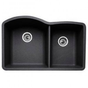 Blanco 440179 Diamond Anthracite 1 and 3/4 Bowl Silgranit Undermount Kitchen Sink