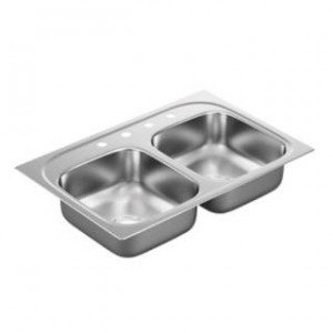 "Moen G222174 2200 Series 33""L x 22""W x 6-1/2""D 4 Holes Drop In Double Basin Kitchen Sink with Center Drain"