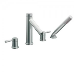 Moen T914 Level 2 Handle Roman Tub Filler Trim with Single Function Hand Shower