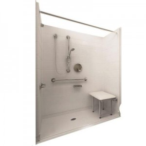 Deluxe 37 in. x 60 in. x 77-1/2 in. 5-piece Barrier Free Roll In Shower System in White with Center Drain