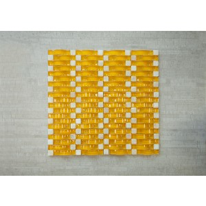 "3D Wave Srs. C4 Honey Mustard 13 3/8"" x 12"" x Arch Glass, Stone Mosaic (Set of 5 pcs.)"