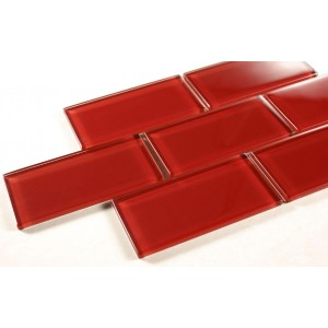 "Crystile Srs. H13 Ruby Red 2 7/8"" x 5 3/4"" Glass Mosaic (Sold by Box)"