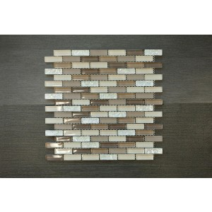 "Crystile Srs. D8 Brown, Beige & White Glass Tile 12 3/4"" x 12 x 3/8"" Glass Mosaic (Set of 5 pcs.)"