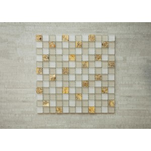 "Sea Beach Srs. B5 Mother of Pearl 11 3/4"" x 11 3/4"" x 3/8"" Glass, Resin Mosaic (Set of 5 pcs.)"