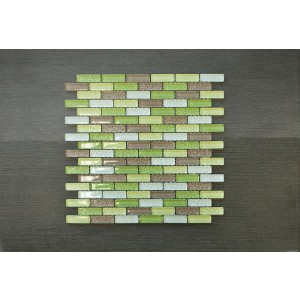 "Crystile Srs. D3 Crystile Green 12 3/4"" x 12 x 3/8"" Glass Mosaic (Set of 5 pcs.)"