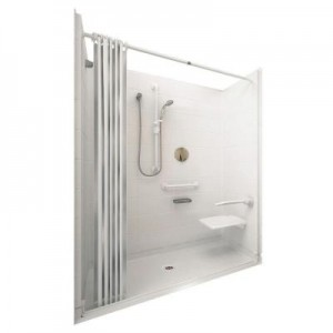 Elite 33-4/12 in. x 60 in. x 77-1/2 in. 5-piece Barrier Free Roll In Shower System in White with Center Drain