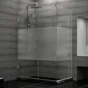 "Dreamline SHEN-24500300-HFR Unidoor Plus 50""W x 30-3/8""D x 72""H Hinged Shower Enclosure with Half Frosted Glass Door"