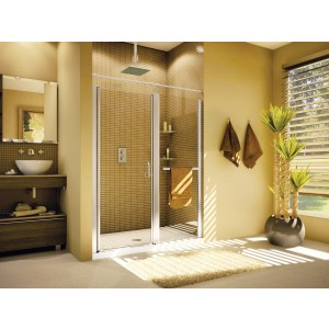 "Fleurco Banyo Sevilla In-line 48"" x 66"" Semi-frameless Pivot Shower door"