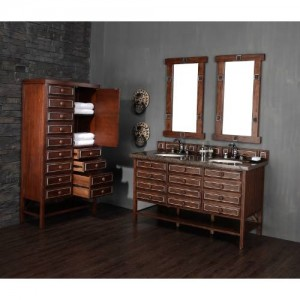 """James Martin Furniture 350-V60S-SWS-TBR Tacoma 60"""" Single Vanity in Sienna with Silver with Tropical Brown Stone Top - Vanity Top Included"""