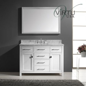 "Virtu USA MS-2048-WMSQ-ES Caroline 48"" Single Sink Bathroom Vanity Set - Vanity Top Included"