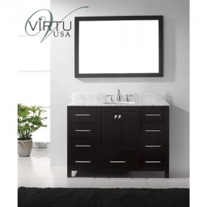 "Virtu USA GS-50048-WMRO-WH Caroline Avenue 48"" Single Round Sink Bathroom Vanity with Italian Carrara White Marble Countertop"