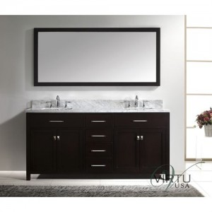 "Virtu USA MD-2072-WMSQ-ES Caroline 72"" Double Square Sinks Bathroom Vanity with Italian Carrara White Marble Countertop - Vanity Top Included"