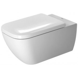 Duravit 255009 Happy D.2 14-3/8 x 24-3/8 Inch Rimless Wall-Mounted Toilet, Washdown Model, Bowl Only