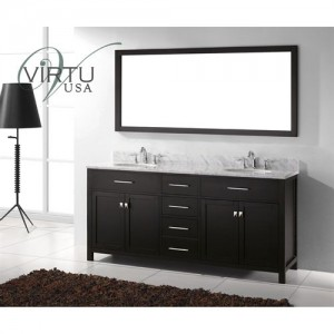 "Virtu USA MD-2072-WMRO-ES Caroline 72"" Double Round Sinks Bathroom Vanity in Espresso with Italian Carrara White Marble - Vanity Top Included"