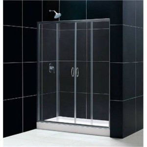 "Dreamline DL-6961R Visions 32"" x 60"" Right Drain Single Threshold Base Shower Package"
