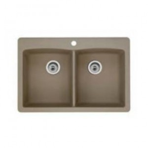 Blanco 441285 Diamond Equal Double Bowl Silgranit II Sink in Truffle