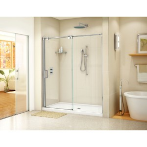 "Fleurco Luxe Glide In-line 48"" x 75"" Frameless Sliding Shower door and fixed panel"
