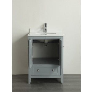 Eviva Lime® 24″ Bathroom Vanity Chilled Grey with White Quartz Top