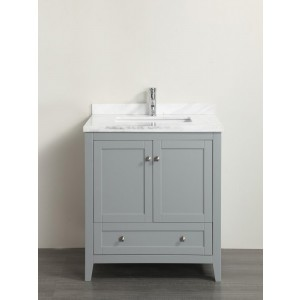 Eviva Lime® 30″ Bathroom Vanity Chilled Grey with White Marble Carrera Top