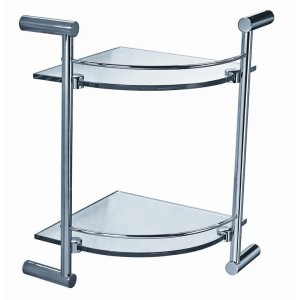 ART OF BATH CORNER DOUBLE GLASS SHELF L0412B