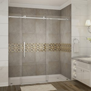"Aston Global Sdr976 60"" x 75"" Moselle Frameless Sliding Shower Door in Chrome"